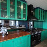 ballrat kitchen joinery cabinetry green, bamboo bench tops,painted , smeg appliances,