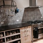 Ballarat designer kitchen tiled splashback open shelves timber limewashed door stone bench
