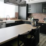 island bench, timber tops, black shaker door appliance cabinet, joinery Ballarat
