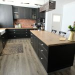 kitchen, island bench, timber bench, timber floor,cup pull,butlers sink