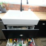 drawers, stoarge, sink, black tap