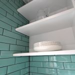 Shelf detail with subway tiles