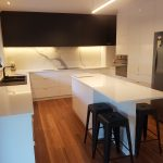 Black & White kitchen, marble splashback, island bench