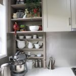 Open display shelving in a kitchen